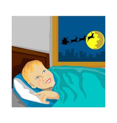Boy wishing santa vector
