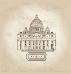 travel background vatican st peters cathedral vector image