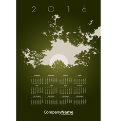 2016 Tree Hole Calendar vector image vector image