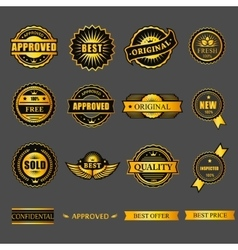 Badges tag label sticker gold set for business vector