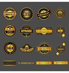 Badges tag label sticker gold set For business vector image