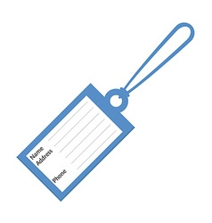 Blue luggage tag vector