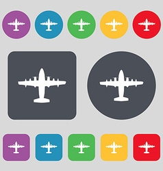 Aircraft icon sign a set of 12 colored buttons vector