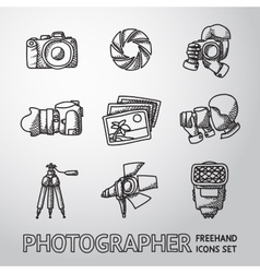 Photographer freehand icons set with - shutter vector