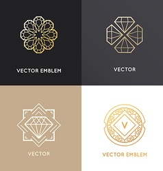 Abstract logo design templates in golden colors vector