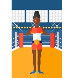 Confident boxer in gloves vector