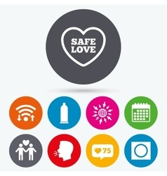 Condom safe sex icons lovers gay couple sign vector
