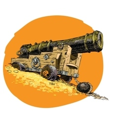 Pirate treasure marine gun vector