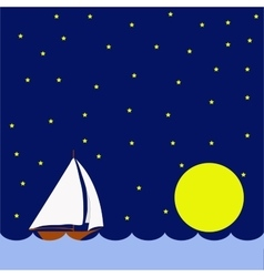 Sailing boat in the night huge moon vector