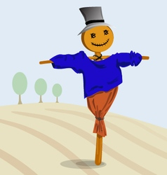 Scarecrow in autumn field vector