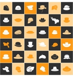 Seamless pattern with flat icons of headwear vector