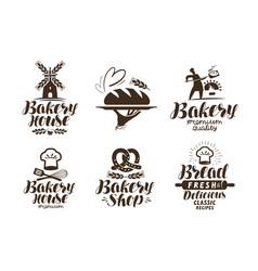 Bakery bakehouse label or logo bread baked vector