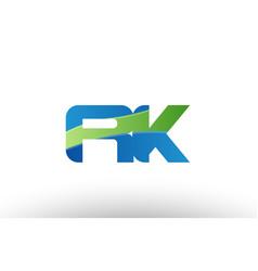 Blue green rk r k alphabet letter logo vector