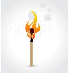 Burning match stick vector image