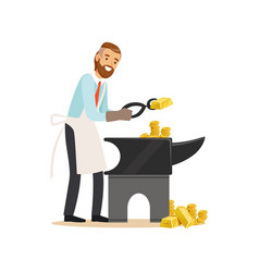 Businessman forging money on the anvil make money vector