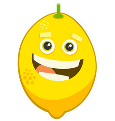 cartoon lemon fruit character vector image vector image