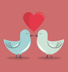 Color background with heart and couple of pigeons vector