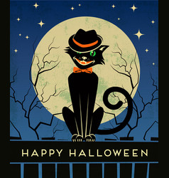 halloween black cat and full moon vector image vector image