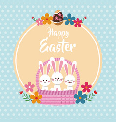 happy easter bunnies in basket floral dots vector image vector image