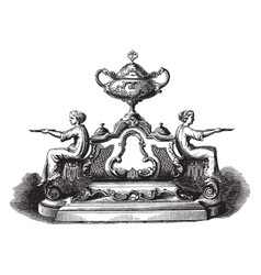 Inkstand tray vintage engraving vector