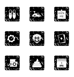 Jocularity icons set grunge style vector