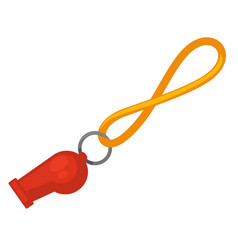 Lifeguard red whistle with yellow line isolated on vector