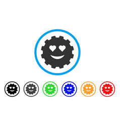 Love smiley gear icon vector