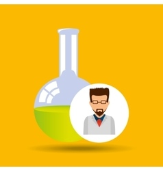 male scientist laboratory flask icon vector image vector image