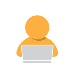 Man working on computer icon vector