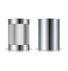 metallic cans set metal tin can set vector image