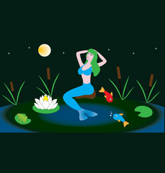 mythical character mermaid sits in a pond vector image vector image
