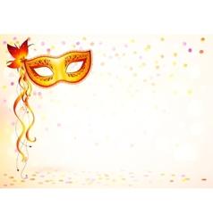 Orange carnival mask on pink bokeh light vector