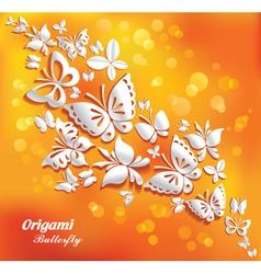 origami butterflies on the sunny background vector image vector image