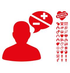 Person arguments icon with love bonus vector