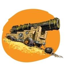 Pirate treasure marine gun vector image