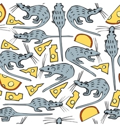 Seamless pattern with mice and cheese vector