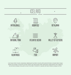 Set of thin line icons with iceland symbols vector