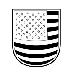 Shield with flag united states of america in vector