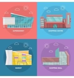 Shopping centre icon set in flat design vector