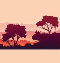 silhouette beauty jungle landscape vector image
