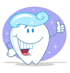 Smiling Tooth Cartoon Character With Toothpaste vector image vector image