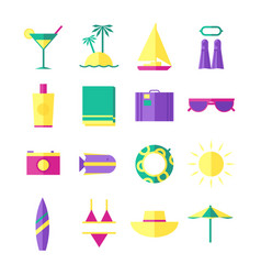summer holidays travel icons vector image vector image
