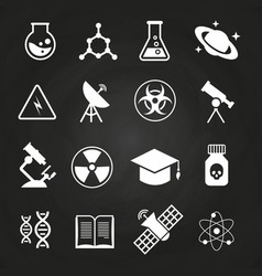 White science icons on chalkboard vector
