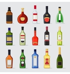 Alcohol in a bottle flat icons vector