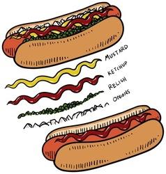 Doodle food hotdogs vector