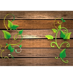 Wood background with leaf vector