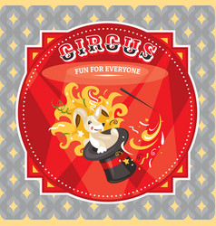 circus card with a rabbit vector image