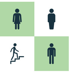 human icons set collection of female gentleman vector image