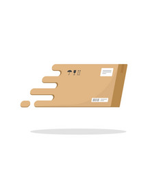 Fast delivery box flying icon flat cartoon vector