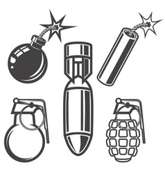 set of bomb grenade dynamite stick on white vector image